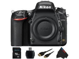 Nikon D750 FX-format Digital SLR Camera Body + 16GB Pixi-Basic Accessory Bundle