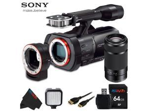 Sony NEX VG900 Full Frame Interchangeable Lens Camcorder Video Camera with 3-Inch LCD + Sony E 55-210mm F4.5-6.3 Lens + 64 GB Pixi-Basic Accessory Bundle