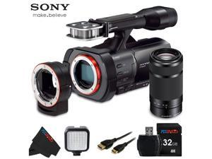 Sony NEX VG900 Full Frame Interchangeable Lens Camcorder Video Camera with 3-Inch LCD + Sony E 55-210mm F4.5-6.3 Lens + 32 GB Pixi-Basic Accessory Bundle