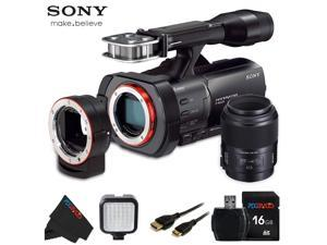 Sony NEX VG900 Full Frame Interchangeable Lens Camcorder Video Camera with 3-Inch LCD + Sony 100mm f/2.8 Macro Lens + 16GB Pixi-Basic Accessory Bundle