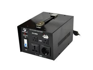 Goldsource STU-N Series 2000w Heavy-duty AC 110/220V Step Up / Down Voltage Transformer / Converter with US Standard, Universal, German/French Schuko AC Outlets & DC 5V USB Port - 2,000 Watt