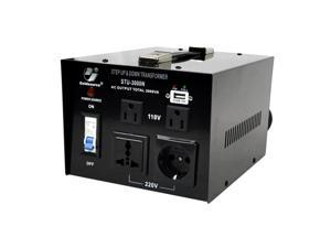 Goldsource STU-N 3000W Series Heavy-duty AC 110/220V Step Up / Down Voltage Transformer / Converter with US Standard, Universal, German/French Schuko AC Outlets & DC 5V USB Port - 3,000 Watt