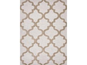 Jaipur CT19 Hand-Tufted Geometric Pattern Wool Ivory/Taupe Area Rug ( 5x8 )