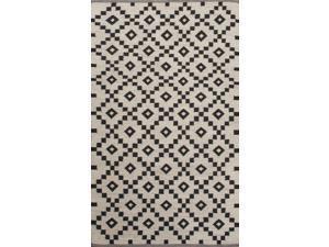 Jaipur SCN01 Flat-Weave Durable Wool Ivory/Black Area Rug ( 8x10 )