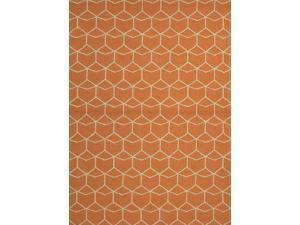Jaipur BA07 Indoor-Outdoor Geometric   Orange/Ivory Area Rug ( 2x3 )