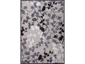 Jaipur FB67 Machine Made Floral  Art Silk/ Chenille Gray/Area Rug ( 2X3 )