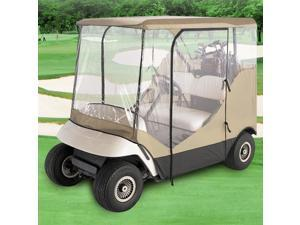 NEH® WATERPROOF SUPERIOR BEIGE AND TRANSPARENT GOLF CART COVER COVERS ENCLOSURE CLUB CAR, EZGO, YAMAHA, FITS MOST FOUR-PERSON GOLF CARTS