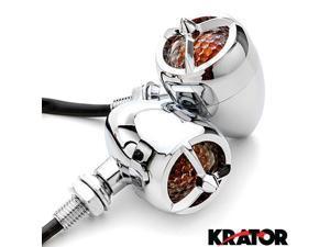 Krator® 2pc Chrome Heavy Duty Motorcycle Turn Signals Warplane Propeller Engine Blinkers For Vespa GTS GTV 250 300