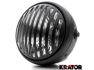 "Krator® 7"" Black Vintage Antique Style Grill Prison Chopper Motorcycle Bobber Headlight For Vespa GTS GTV 250 300"