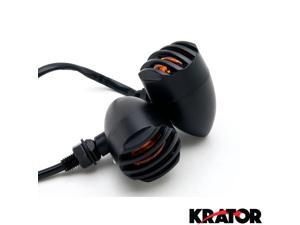 Krator® Motorcycle 2 pcs Black Amber Turn Signals Lights For Vespa GTS GTV 250 300