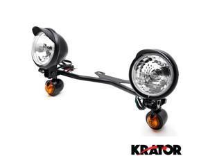Krator® Black Motorcycle Passing Light Bar & Turn Signals For Vespa GTS GTV 250 300