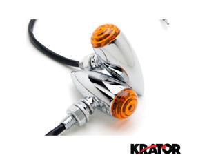 Krator® Motorcycle 2 pcs Chrome Amber Turn Signals Lights For Vespa GTS GTV 250 300