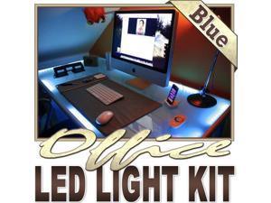 Biltek® 3.3' ft Blue Home Office Desk Computer Remote Controlled LED Strip Lighting SMD3528 Wall Plug - Under Desk Hutch Drawers Bookshelf Reading Glass Case Waterproof 3528 SMD Flexible DIY 110V-220V