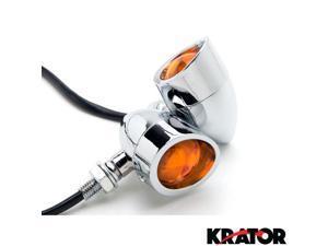 Krator® Motorcycle 2 pcs Chrome Amber Turn Signals Lights For Vespa GTS GTV 250 300
