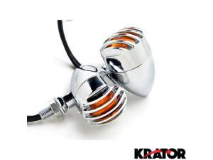 Krator Motorcycle 2 pcs Chrome Amber Turn Signals Lights For Vespa GTS GTV 250 300
