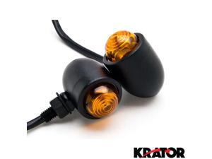Krator Motorcycle 2 pcs Black Amber Turn Signals Lights For Vespa GTS GTV 250 300