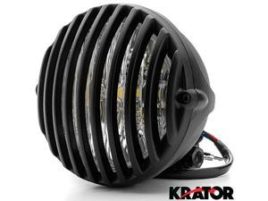 "Krator 5"" Black Vintage Antique Style Grill Prison Chopper Motorcycle Bobber Headlight For Vespa GTS GTV 250 300"