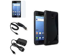 Black S Shape Gel Case Cover+SP+Car+Wall Charger For Samsung Infuse 4G SGH-i997
