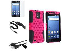 Pink/Black Hybrid Hard Case+Data Cable+Charger+Guard For Samsung i997 Infuse 4G