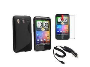 BLACK GEL TPU CASE COVER+CAR CHARGER+LCD PROTECTOR FOR HTC INSPIRE 4G DESIRE HD