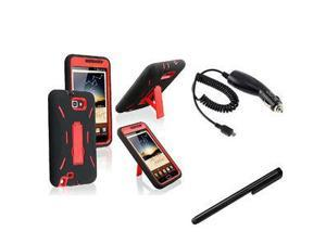 Red Hard/Black Gel Case+Car Charger For Samsung Galaxy Note N7000+Black Stylus