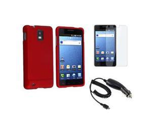 For Samsung Infuse 4G Phone Red Rubber Hard Case Cover+LCD Film+Car Charger