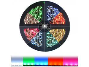 HitLights Weatherproof RGB Color Changing SMD5050 High Density LED Light Strip Kit - 300 LEDs, 16.4 Ft Roll, Cut to Length, Includes Power Supply and In-Line Controller