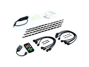 HitLights Eclipse LED Light Strip Automotive Kit, Black - RGB Multicolor SMD 5050 - 4 x 1 Foot Strips, Controller, Cigarette Lighter Plug and Connectors  - Adhesive Backed  - Color Changing Tape Light