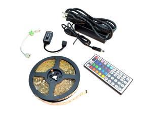 HitLights High Density LED Light Strip Starter Kit - RGB Multicolor SMD 5050 - 16.4 Ft Roll, 44 Key Controller and Power Supply - 150 LEDs, IP-30 - Color Changing LED Tape Light