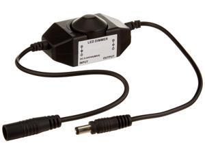 HitLights LED Strip Light Mini Dial Dimmer, Black, Easy DC Jack Installation, 5-24V DC, 4A Max, LED Tape Light
