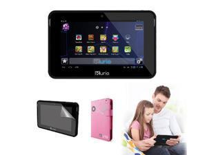 "KURIO 7S Kids 7"" Tablet (Black) with Case (Pink) & Screen Protector BUNDLE OFFER- Refurbished"