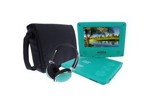 KORAMZI PDVD777 7-inch Swivel and Fold Portable DVD/CD/MP3 Player with Matching Color Headphones and Bag with Built-In Rechargeable Battery, USB/SD Card Reader, AC/DC Adapter