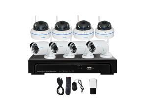 JideTech® 8ch NVR Kit Security System 720P Wireless WiFi CCTV IP Camera Support Smartphone Remote Monitoring for Indoor and Outdoor