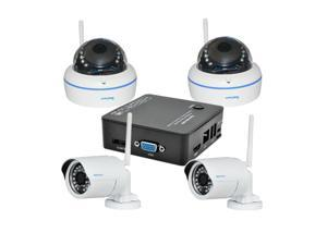 JideTech Mini 4CH NVR Kit with Indoor and Outdoor Wireless IP Camera Dome and Bullet Security System