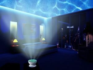 Romantic Ocean Daren Sea Waves Projector Lamp  Ocean Wave Light Projector, 12 Multicolor LED, BLUE, RED, GREEN, MP3 iPhone Speaker LED Night Light Speaker Christmas Gift
