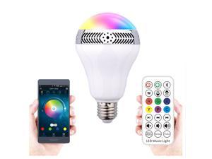 2 in 1 Bluetooth Smart LED Light Bulb Wireless Bluetooth 4.0 Speaker - Smartphone APP Remote Controlled Multicolored Changing Lights - Works with iPhone, iPad, Android Phone and Tablet E27/E26 Socket