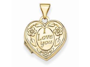 14k Yellow Gold I Love You Heart Locket