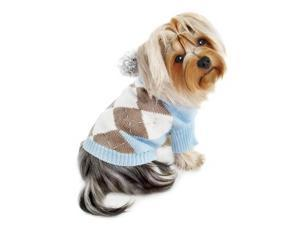 Argyle Pattern Hoodie Sweater with Pompo (Light Blue)