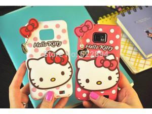 3D Cartoon Hello Kitty Dot & Bow Soft Silicone Back Cover Case For Samsung Galaxy S2 SII i9100 9100