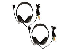 Lot2 3.5mm Multimedia Stereo Headset Headphone with Mic New Black
