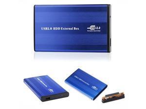 "Blue External USB 2.0 Hard Disk Drive 2.5"" IDE Enclosure HDD Case Portable"