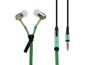 New Microphone / Mic / Fresh Earbuds Premium 3.5mm Tangle-Free Zipper Earphones for iPhone 4 5 5s 5c 6 6 Plus ( Green)