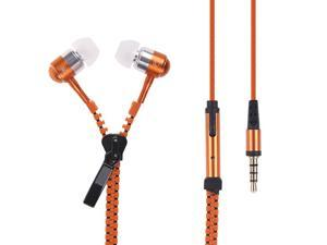 New Microphone / Mic / Fresh Earbuds Premium 3.5mm Tangle-Free Zipper Earphones for iPhone 4 4s 5 5s 5c 6 6 Plus(Orange)