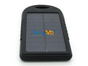 5000mAh Solar Battery Panel Dual USB Port Shock/Dust/Waterproof Portable Charger Backup External Battery Pack Power Bank for Apple iPhone 4s 5 5s 6 6 Plus iPad Air iPad Mini iPod Samsung(Black)