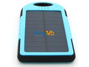 5000mAh Solar Battery Panel Dual USB Port Shock/Dust/Waterproof Portable Charger Backup External Battery Pack Power Bank for Apple iPhone 4s 5 5s 6 6 Plus iPad Air iPad Mini iPod Samsung(Blue)