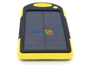 5000mAh Solar Battery Panel Dual USB Port Shock/Dust/Waterproof Portable Charger Backup External Battery Pack Power Bank for Apple iPhone 4s 5 5s 6 6 Plus iPad Air iPad Mini iPod Samsung(Yellow)