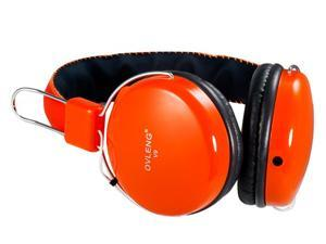 OVLENG V9 3.5mm Plug Stereo Headphones With Microphone1.2 m Cable(Orange)