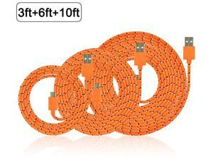 3Pcs 10Ft 6Ft 3Ft Nylon Braided Micro USB Charging Sync Data Cable Charger Extension Cord for Galaxy S7 S6 Edge S4 S5 Note 4 5 Tab, Moto G X, Nexus 5 6 HTC M9 and more Android Devices Orange