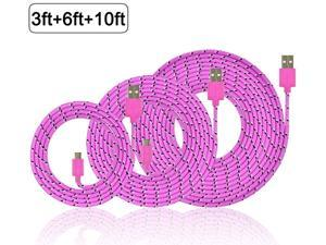 3Pcs 10Ft 6Ft 3Ft Nylon Braided Micro USB Charging Sync Data Cable Charger Extension Cord for Galaxy S7 S6 Edge S4 S5 Note 4 5 Tab, Moto G X, Nexus 5 6 HTC M9 and more Android Devices Pink