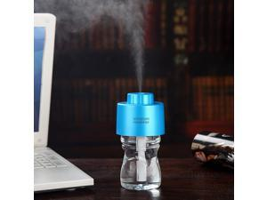 USB Portable ABS Water Bottle Cap Humidifier DC 5V Office Air Diffuser Aroma Mist Maker with Bottle+2pcs Absorbent Filter Sticks Nightlight Function